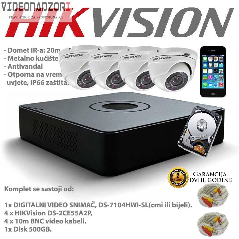 HIKVISION VIDEO NADZOR 4 KAMERE + HDD + 10m +20m KABLOVI prodavac VideoNadzori Hrvatska