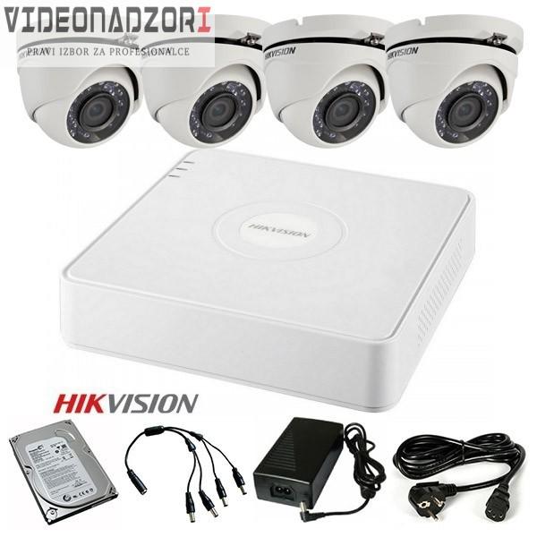TURBOHD Komplet video nadzor 4 HD kamere Dome ili Bullet (Domet IR 20m, 720p, 2.8mm) brend HikVision Hrvatska [ za 2.587,50kn
