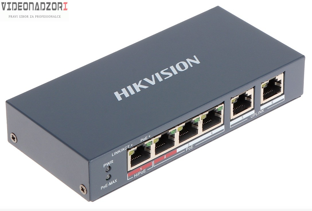 """HikVision Standar: Port 1: IEEE 802.3af, IEEE 802.3at, IEEE 802.3bt Portovi 2 do 4: IEEE 802.3af, IEEE 802.3at"""" SWITCH DS-3E0106HP-E od  za samo 498,75kn"""