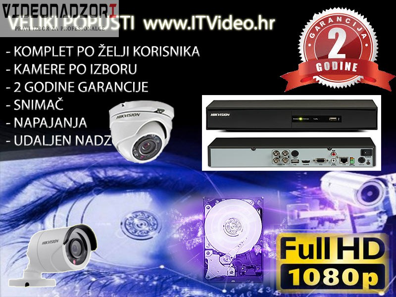 HD Hik video nadzor 2 kamere antivandal Dome ili Bullet za samo 2.612,50kn