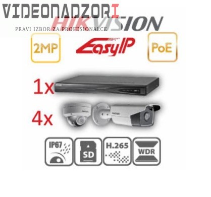 HikVision KOMPLET 2MP 4 KAMERE POE prodavac VideoNadzori Hrvatska  za 5.123,75kn