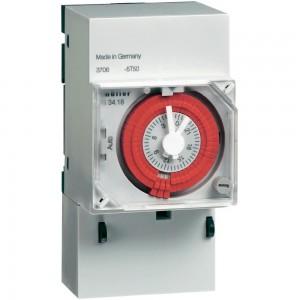 Uklopni sat za montažu na profilne šine, analogni, Müller 12 V/DC, 24 V/DC, 24 V/AC 16 A/250 V