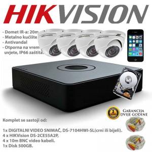HIKVISION VIDEO NADZOR 4 KAMERE + HDD + 10m +20m KABLOVI