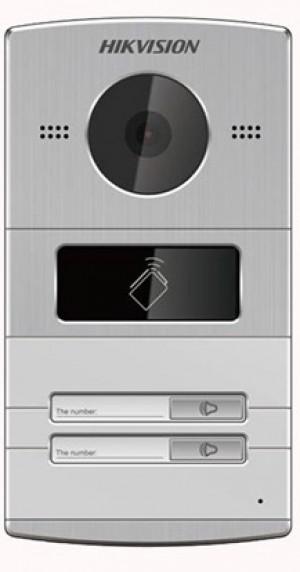 IP vanjski interfonski panel HikVision DS-KV8202-IM dvije pozivna tipka, kamera 1,3Mpx, čitač kartica, aluminijsko kućište