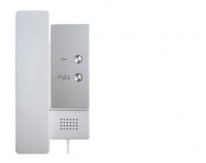 Interfonska slušalica za V-TEK DT sustave sa 2 tipke. Mogućnost kontrole 2 električne brave, mogućnost internog poziva unutar stana, dvožično povezivanje