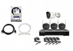 HikVision bezicni video nadzor 4 wifi kamere 4Mpx KOMPLET NK44W0H-1T(WD) (Hard disk, snimac, kamere, ispravljaci, Lan kabel, HDMI)